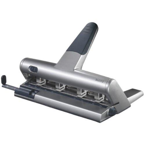 Leitz 51140084 Mehrfachlocher AKTO®, 3 mm, mit Anschlagschiene, silber