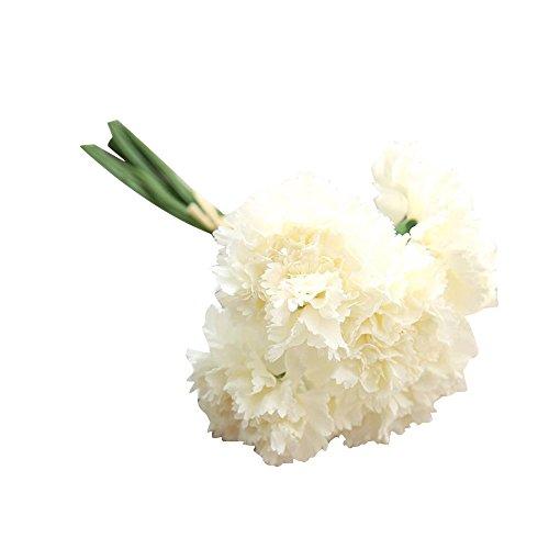 weiadinga Artificial Flower Artificial Fake Flower Carnation Flower Wedding Bouquet Bride Hydrangea Decoration (Milk ()
