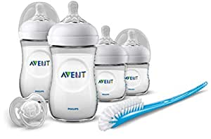 Philips Avent Newborn Natural Starter Set for 0-12 Months Babies, Includes 4oz Baby Bottles (x2), 9oz Baby Bottles (x2), Brush and Soother/Pacifier, SCD031/01