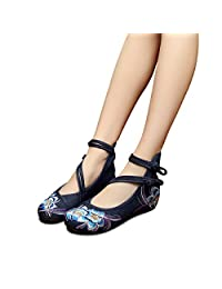 Veowalk Chinese Style Flower Embroidered Women's Casual Cotton Canvas Flat Ballet Shoes
