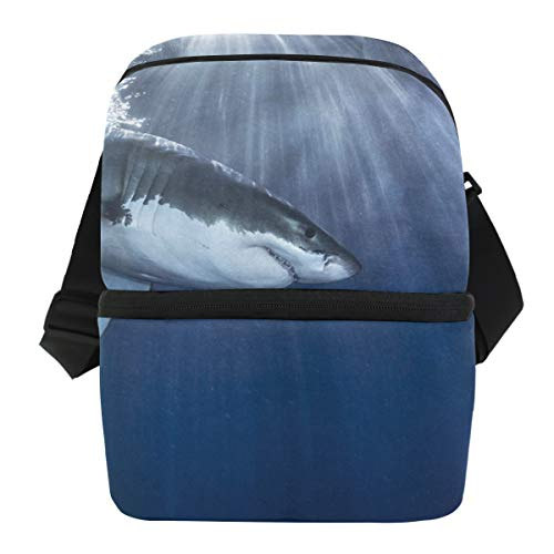 - Lovexue Lunch Bag Great Shark Portable Cooler Bag Mens Leakproof Refrigerator Storage Zipper Tote Bags for Picnic