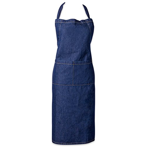 Length Bib Apron (DII 100% Cotton Denim Jean Shop Apron with Pocket, 32x28