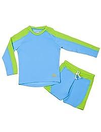 Nozone Laguna Sun Protective Boy's Two Piece Swimsuit in Aqua/Lime, Size 10
