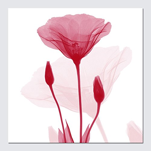 Contemporary Flower Paintings - Wieco Art Large Modern Impressionist Floral Giclee Canvas Prints Artwork Contemporary Red Flickering Flowers Pictures Paintings on Canvas Wall Art for Living Room Bathroom Home Decor L 24x24 inch