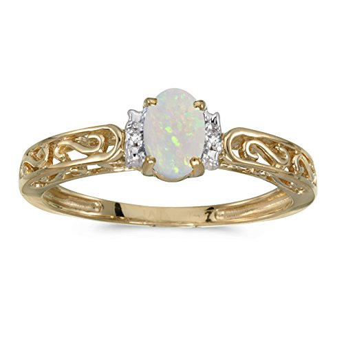 14k Yellow Gold Oval Opal And Diamond Ring (Size 8) ()