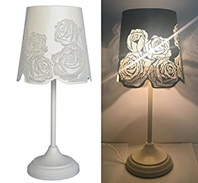 "15"" Table Lamp Desk Lamp Bed Lights With Rose Lamp Shade"