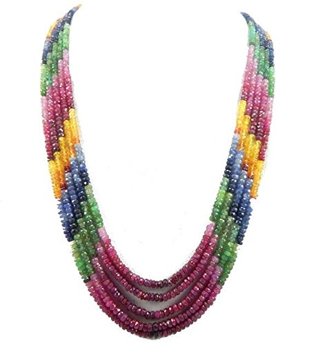 25% shop Sale lots 5 strand necklace 2-4mm AA Natural MULTI SAPPHIRE shaded beads 18 inch ruby, (3 Strand Ruby)