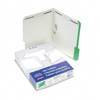 Pendaflex Colored Folders with Embossed Fasteners, 1/3 Cut, Letter, Green/Grid Interior