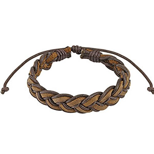 Brown Mermaid Braided Leather Bracelet with Drawstrings, Adjustable Size by Sliding Tie-Knot Closure and One Size Fits Most (Extends upto 10