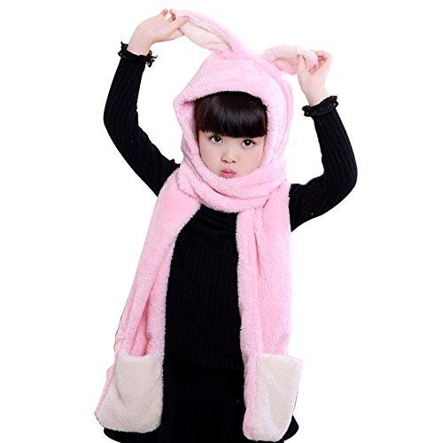 Old Navy Fleece Mittens Hat (Kids Winter Beanie Coral fleece Baby Scarf Hats Skull Caps with Rabbit Ears Pink)