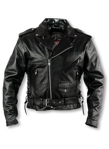 Black Leather Jacket Interstate - Interstate Leather Men's Classic Riding Jacket (Size 50)