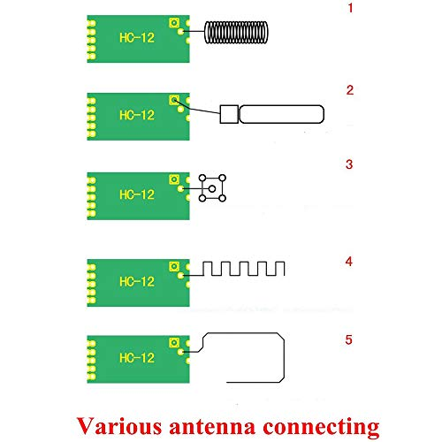 Icstation HC-12 SI4463 433Mhz Wireless Serial Module with Antenna Replace Bluetooth 100mW Remote 1000M (Pack of 2)