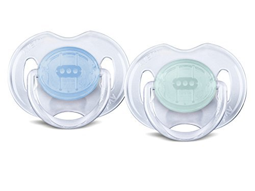 Philips AVENT BPA Free Translucent Orthodontic Infant Pacifier, 0-6 Months, Blue/Green, -