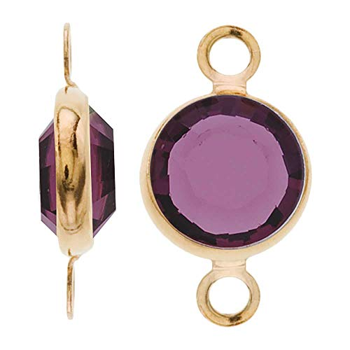 - Swarovski Crystal, Gold Plated Channel Connector Link, 7mm, 4 Pieces, Amethyst