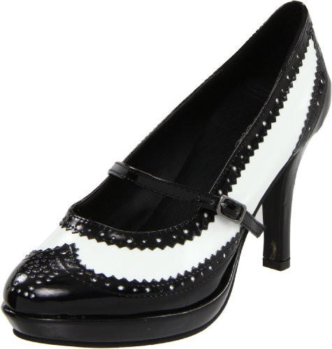 Flapper Jane (Ellie Shoes Women's 414 Flapper Spectator Pump, Black/White, 7 M US)