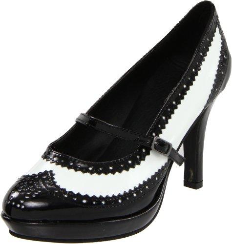 Ellie Shoes Women's 414-flapper, Black/White, 11 M US