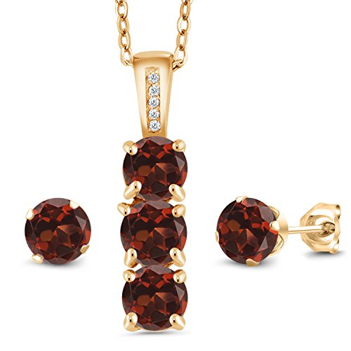 (2.79 Ct Red Garnet White Diamond 18K Yellow Gold Plated Silver Pendant Earrings Set)