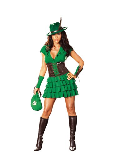 Robin Hood Halloween Costume Girl (Dreamgirl Women's Robin Hood Costume, Green, Medium)