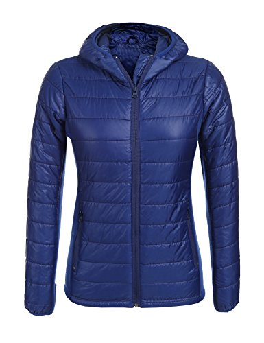 Finejo Women's Packable Hooded Lightweight Down Jackets Puffer Coats Royal Blue,XXL