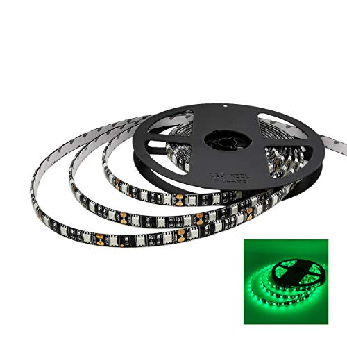 YUNBO LED Strip Lights Green 520-525nm Black PCB Board Waterproof 12V Flexible LED Tape Lights Cuttable 300 Units SMD 5050 LED Lighting 16.4ft/5m ()