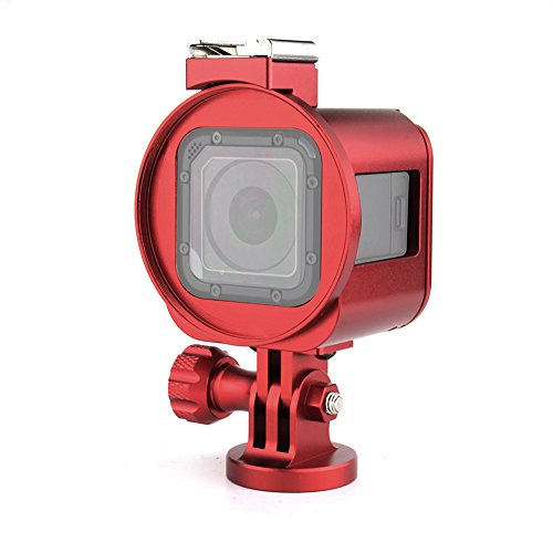 SOONSUN Aluminum Skeleton Case Frame Housing for GoPro Hero5 Session Hero 4 Session Metal Thick Solid Protective Cage Shell with Lens Cap and Mount Screw Wrench - Red
