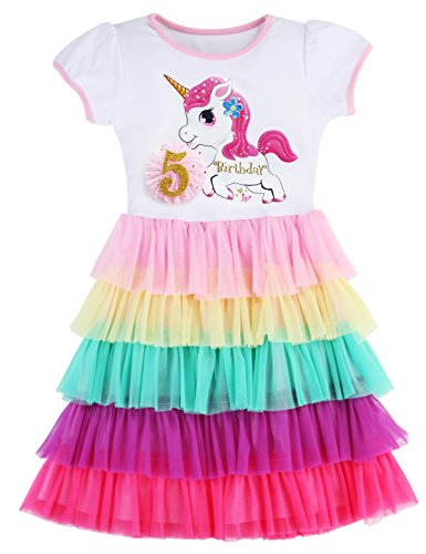 PrinceSasa Elegant Girls Clothes Unicorn Rainbow Party White Cupcake Short Sleeve Fall Dress for Princess Toddler Birthday Outfits Dresses,Birthday5,4-5 Years(Size 120) ()