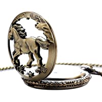 Asatr Retro Hollow Horse Carved Pendant Necklace (Quartz Pocket Watch)