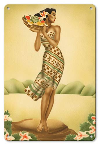 LHZJ Fashionable Tropical Harvest - Hawaiian Woman Holding a Basket of Fruit by GillWall Sign 8X12 inches Metal tin Sign ()