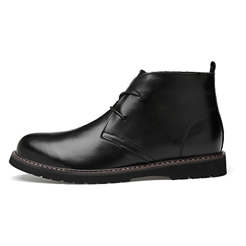 Dress Classic grain Ankle up Leather Leather Black Lace Chukka Full Shoes Groovy Boots LessMore Men's BUqwEt