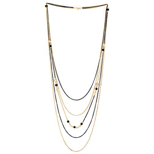 - COOLSTEELANDBEYOND Gold Black Statement Necklace Waterfall Multi-Strand Long Chains with Cube Beads Charms Pendant Prom