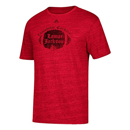 adidas Lamar Jackson Louisville Cardinals Men's Player Tri-Blend Distressed T-Shirt Red (Medium) (Adidas Shirt Futbol)