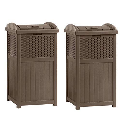 - Suncast GHW1732 Home Outdoor Patio Resin Wicker Trash Can Hideaway (2 Pack)