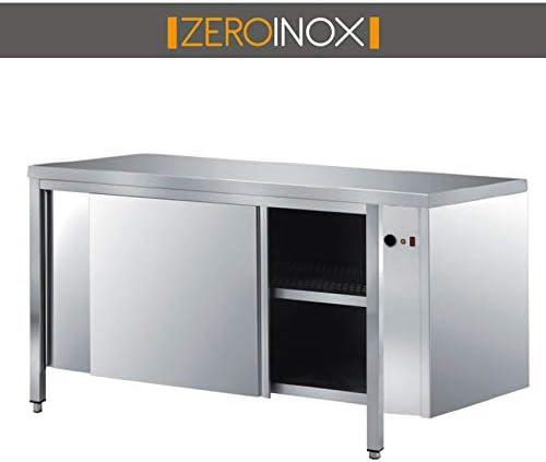 ZeroInox - Mesa Armada cálida con Puertas correderas de 60 cm de Profundidad para restaurantes, pizzerías, hoteles: Amazon.es: Hogar