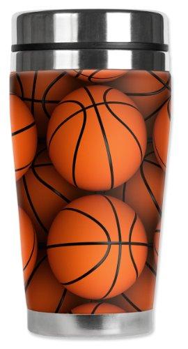 Mugzie Basketballs Travel Mug with Insulated Wetsuit Cover, 16 oz, Orange