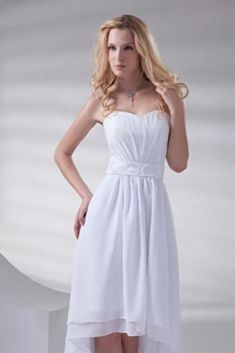 Schnuerung Damen Asymmetrisch Dearta Brautkleider Kleidungen Aermellos Herz Chiffon Ausschnitt Linie Weiß A Z8xwB8