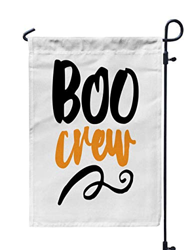 Shorping Easter Garden Flag, 12x18Inch Boo Crew Halloween Lettering Labels Design Retro Badge Drawn Isolated for Holiday and Seasonal Double-Sided Printing Yards -