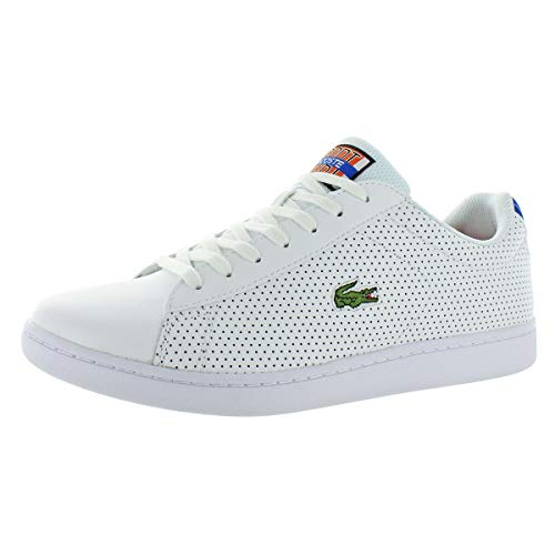 - Lacoste Men's Carnaby Evo Sneaker, White/Blue Perforated, 8 M US
