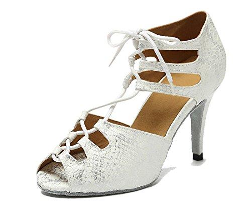 Toe Sexy Ballroom Shoes up Heel Latin Women's Serpentine Satin Lace Salsa Silver 8 5cm Peep Tango TDA Dance 4p1qnA