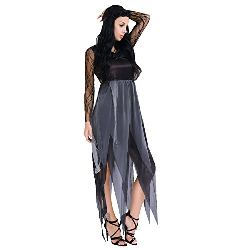 iEFiEL Womens Halloween Long Lace Sleeves Tatter Bride Fancy Dress Black (Bride Halloween Makeup)