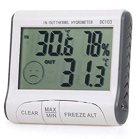 TRIXES Interior / Exterior Digital LCD Termómetro e Higrómetro de Invernadero Casa: Amazon.es: Hogar