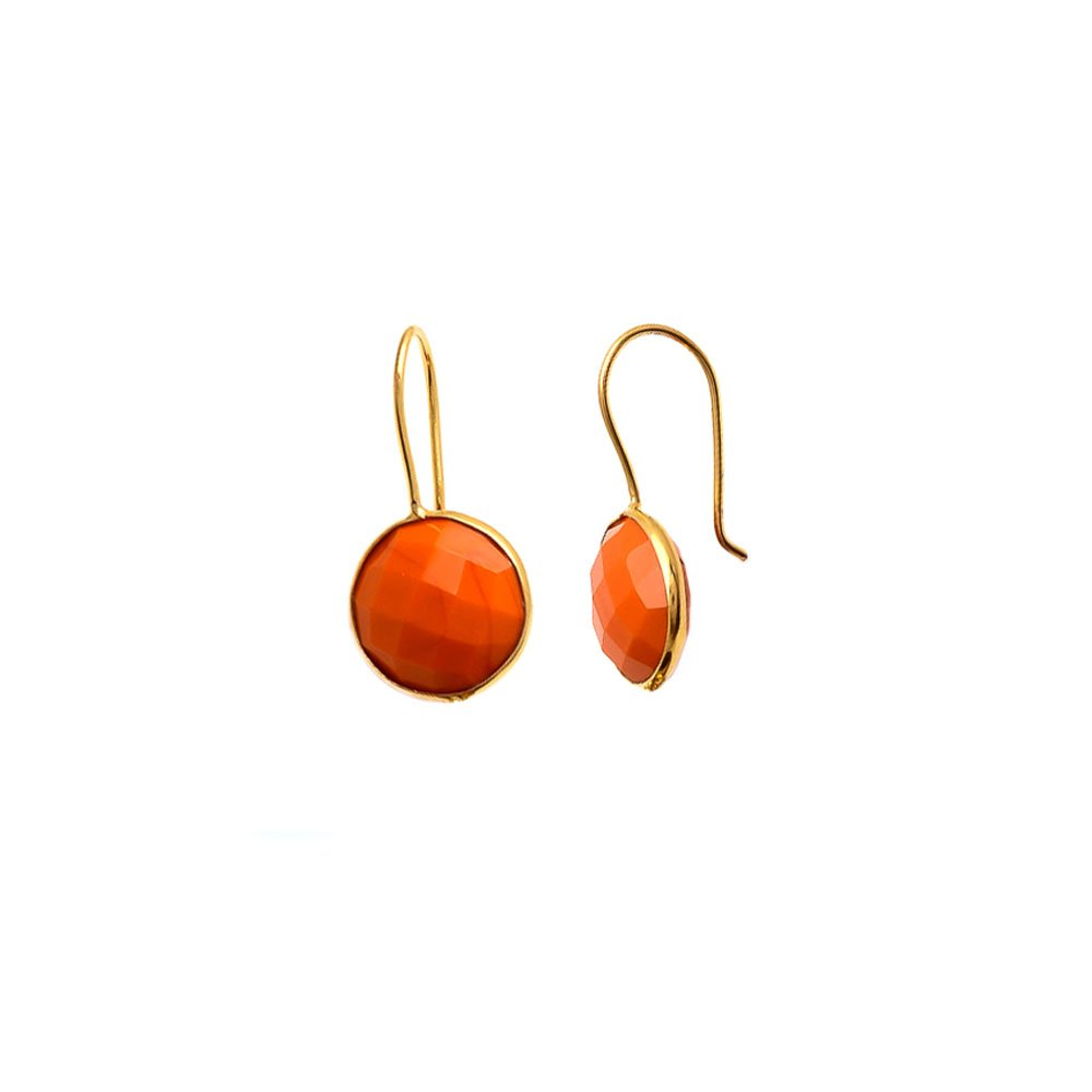 SPARKLER JEWELS Orange Coral Round,925 Sterling Silver,Dangle Earrings,Handmade Gemstone Jewelry