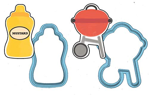 Summer BBQ Cookie Cutter Set - American Confections - Grill, Mustard, Spatula, Chef Hat, Hamburger, Hotdog, 4th of July - MADE IN THE USA (Grill, Mustard) -