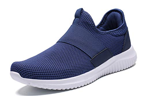 (La Moster Men's Athletic Running Shoes Fashion Sneakers Casual Walking Shoes for Men Tennis Baseball Racquetball Cycling (44 M EU /10.5 D(M) US, Blue/White))