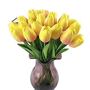 Luccaful 31pcs/lot Fake Flowers Tulips Artificial Flowers PU Artificial Bouquet Real Touch Flowers Artificial for Home Decoration 37