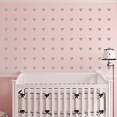 2 inch x100 Pieces DIY Heart Wall Decal Vinyl Sticker for Baby Kids Children Boy Girl Bedroom Decor Removable Nursery Decoration (Gray): Arts, Crafts & Sewing