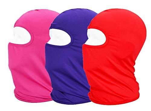 MAYOUTH Balaclava UV Protection Face Masks for Cycling Outdoor Sports Full Face Mask Breathable 3pack (Red + Rose Red + Purple 3-Pack)