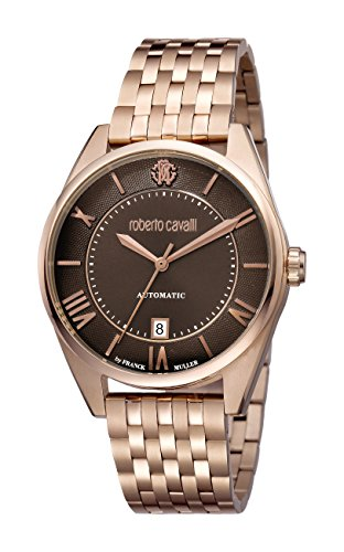 Roberto Cavalli by Franck Muller Men's Classic Swiss-Automatic Watch with Stainless-Steel Strap, Rose Gold, 18 (Model: RV1G013M0086