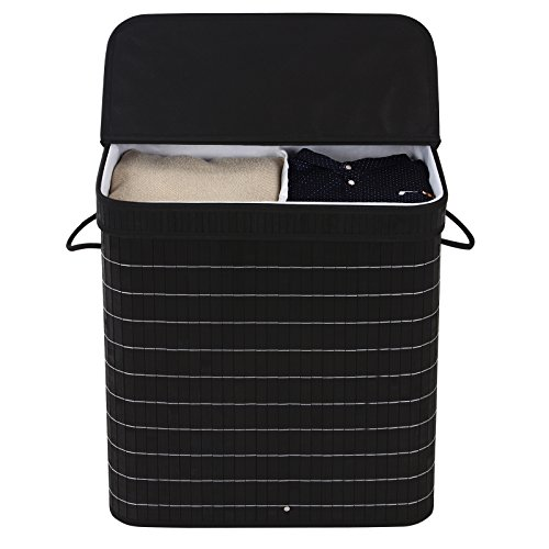 Songmics Divided Bamboo Laundry Two Section Hamper Double
