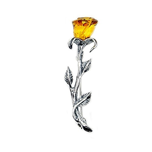 (Amber Brooch Sterling Silver Natural Baltic Amber Rose Brooch, Pin)