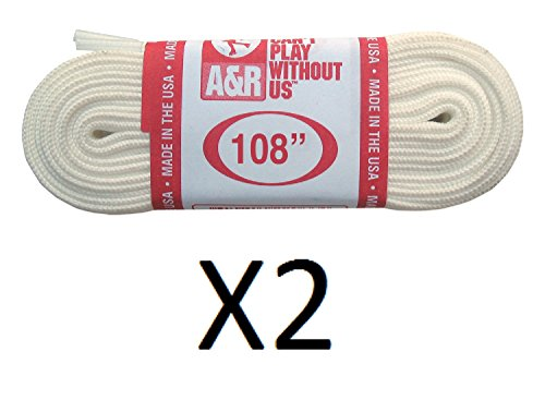 - New A&R 2 Pair, 4 Laces FIGURE SKATE Ice Skating Laces Made in USA WHITE 63